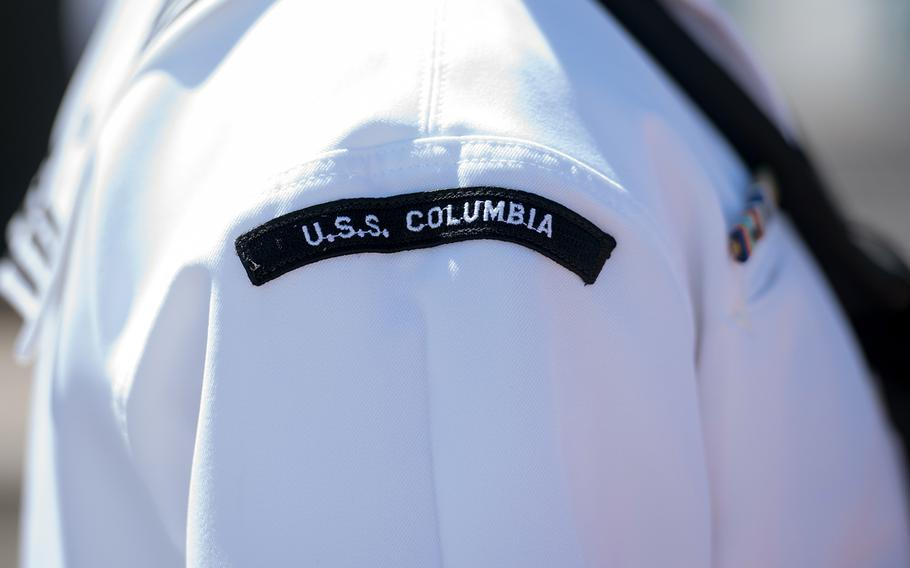 A sailor assigned to the fast-attack submarine USS Columbia stands at attention during a change-of-command ceremony at Joint Base Pearl Harbor-Hickam, Hawaii, Aug. 3, 2018. The Pearl Harbor shooter, a sailor who  was assigned to the USS Columbia, has not been identified.