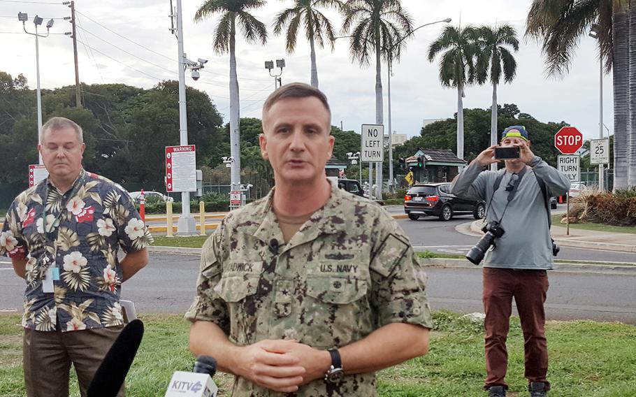 Rear Adm. Robert Chadwick II, Navy Region Hawaii commander, speaks to reporters about shooting deaths at Joint Base Pearl Harbor-Hickam, Hawaii, Wednesday, Dec. 4, 2019.