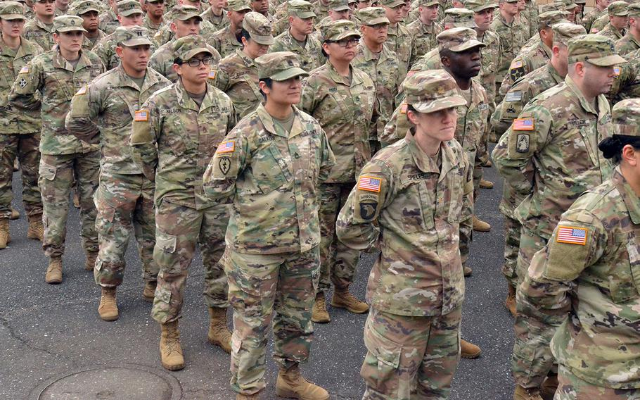 U.S. soldiers stand in formation during a ceremony to kick off the Yama Sakura exercise with Japan at Camp Asaka in Tokyo, Monday, Dec. 9, 2019.