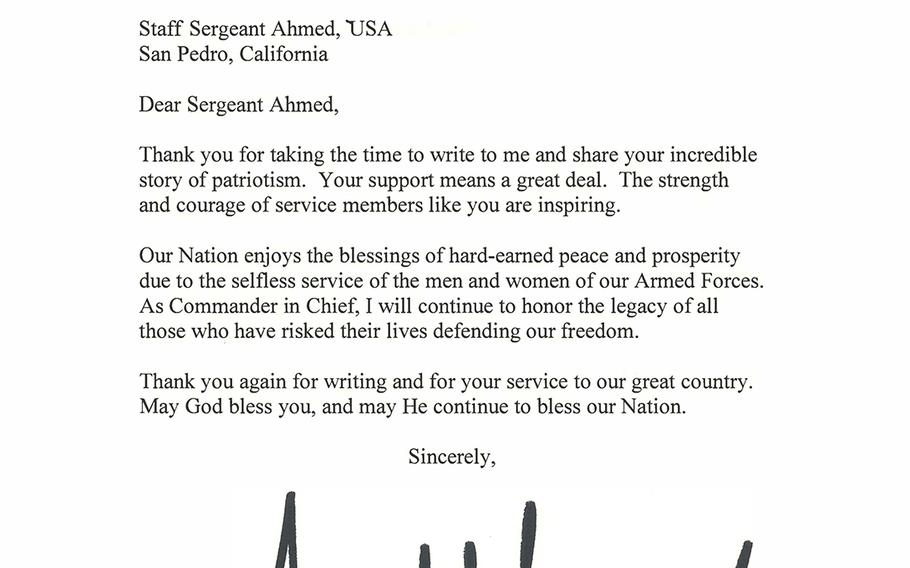 """President Donald Trump thanked Staff Sgt. Ahmed AlSaedi for his """"incredible story of patriotism"""" in this letter dated Nov. 14, 2019."""
