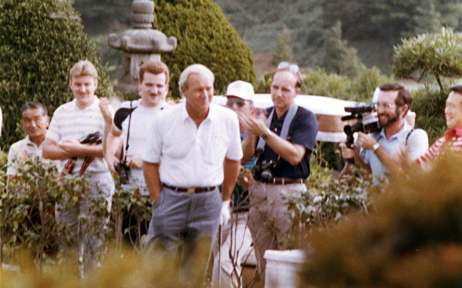 Tama Hills Golf Course has hosted PGA legends like Arnold Palmer, pictured here in October 1984, Jack Nicklaus and Chi-Chi Rodriguez and plenty of other celebrities, from sumo wrestlers to baseball players.