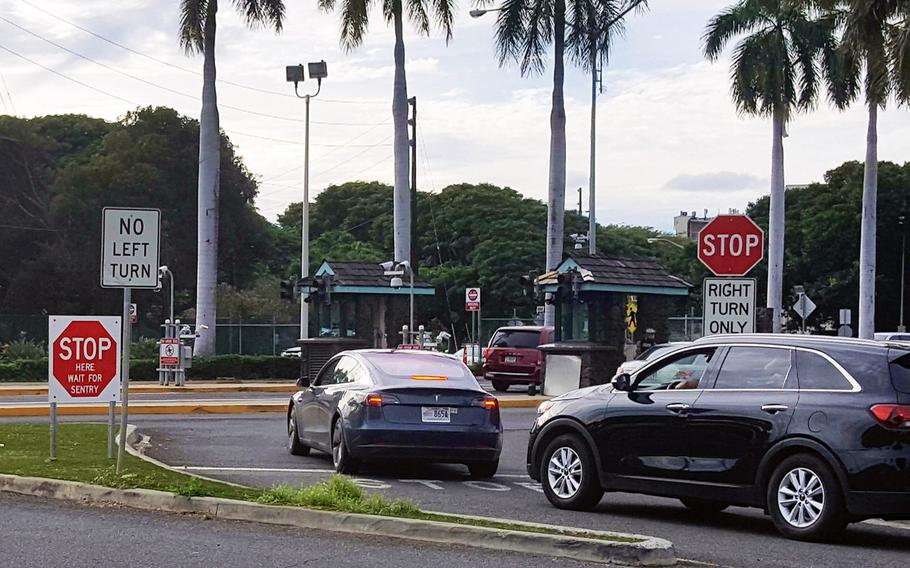 Nimitz gate at Joint Base Pearl Harbor-Hickam, Hawaii, where three civilian men attempted to bring in a training mortar round Jan. 14, 2020.
