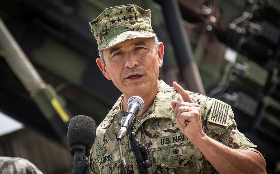 Then-Adm. Harry Harris speaks to reporters at Osan Air Base, South Korea, Aug. 22, 2017.