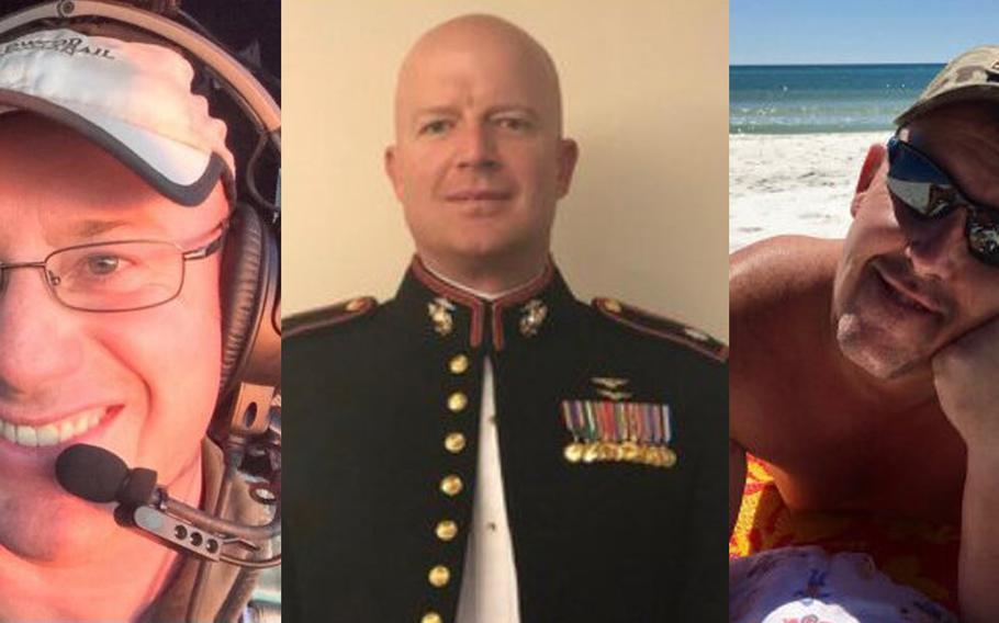 From left: Ian H. McBeth, Paul Clyde Hudson and Rick A. DeMorgan Jr. were identified by Coulson Aviation as the three firefighters killed Thursday, Jan. 23, 2020 in a C-130 crash while fighting wildfires in Australia. All three men had military ties.