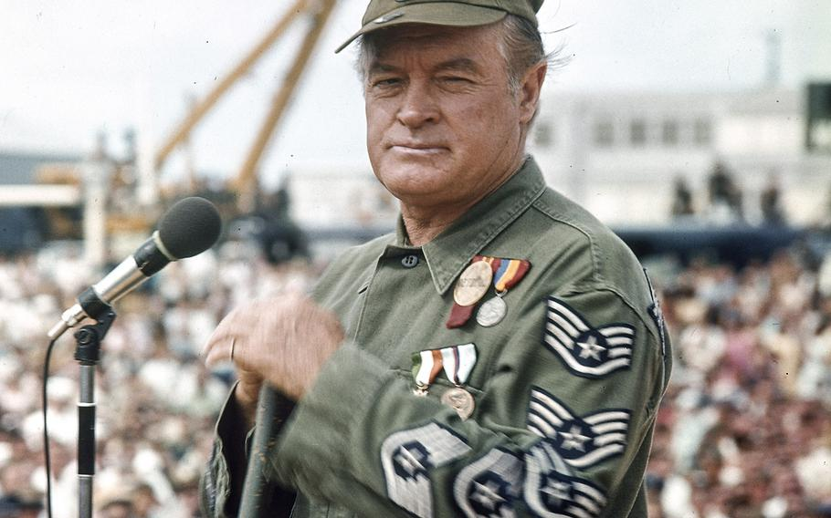 In an undated photo, Bob Hope entertains the troops.
