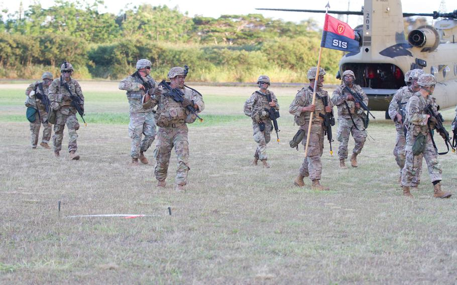 Soldiers from Hawaii's 25th Infantry Division train at Dillingham Airfield, Oahu, July 30, 2019.