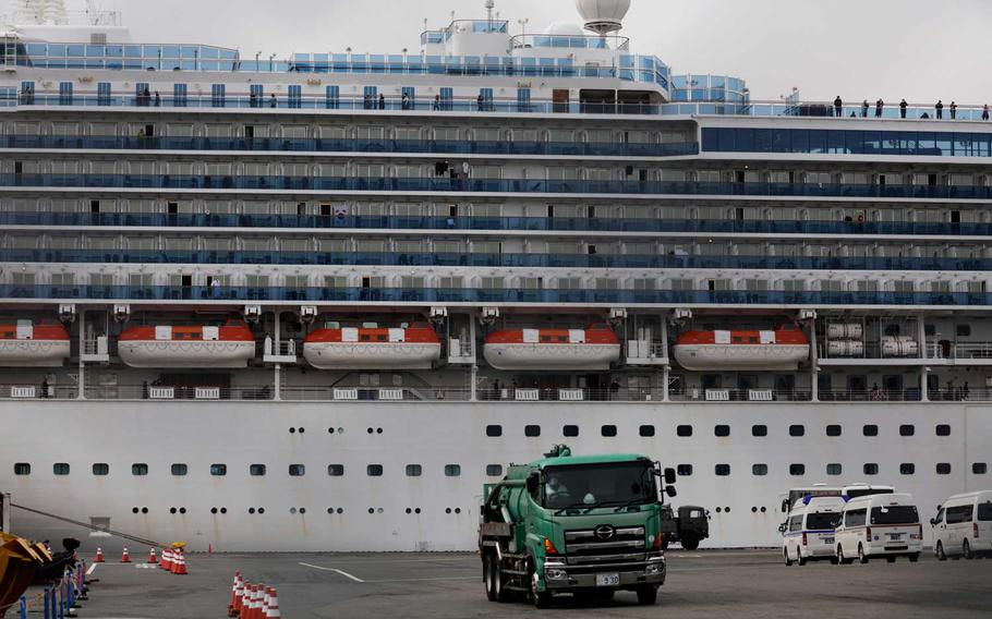 The quarantined Diamond Princess cruise ship is docked at a port, Saturday, Feb. 15, 2020, in Yokohama, near Tokyo. A viral outbreak that began in China has infected more than 67,000 people globally. The World Health Organization has named the illness COVID-19, referring to its origin late last year and the coronavirus that causes it.