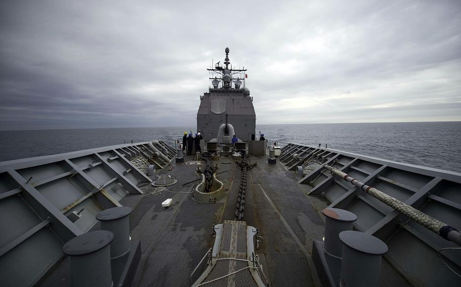 The guided-missile cruiser USS Chancellorsville steams through the Taiwan Strait, Saturday, Feb. 15, 2020.