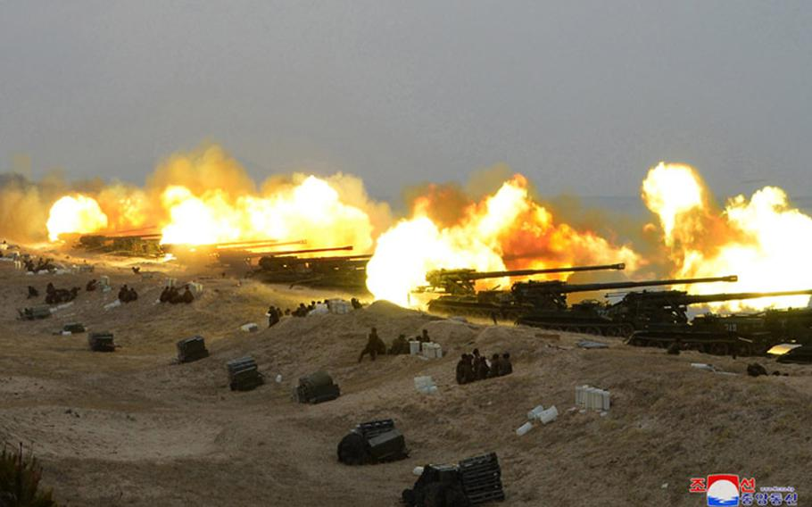 """This photo, released by the North Korean Central News Agency on Feb. 29, 2020, purports to show a """"joint strike drill."""""""