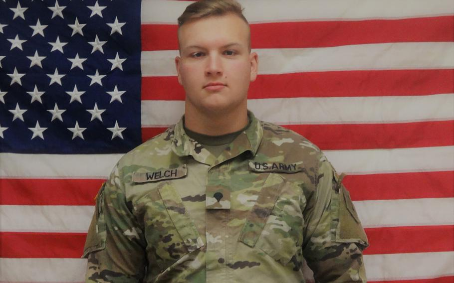 Spc. Clay Welch, 20, of Dearborn Heights, Mich., was found dead in his Camp Humphreys barracks, Sunday, March 22, 2020.