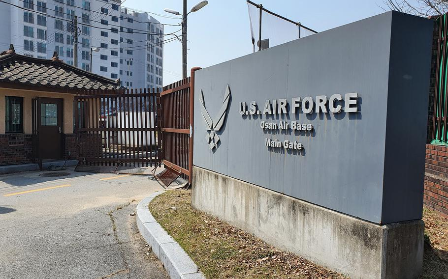 The main gate at Osan Air Base in South Korea is seen Friday, April 3, 2020.