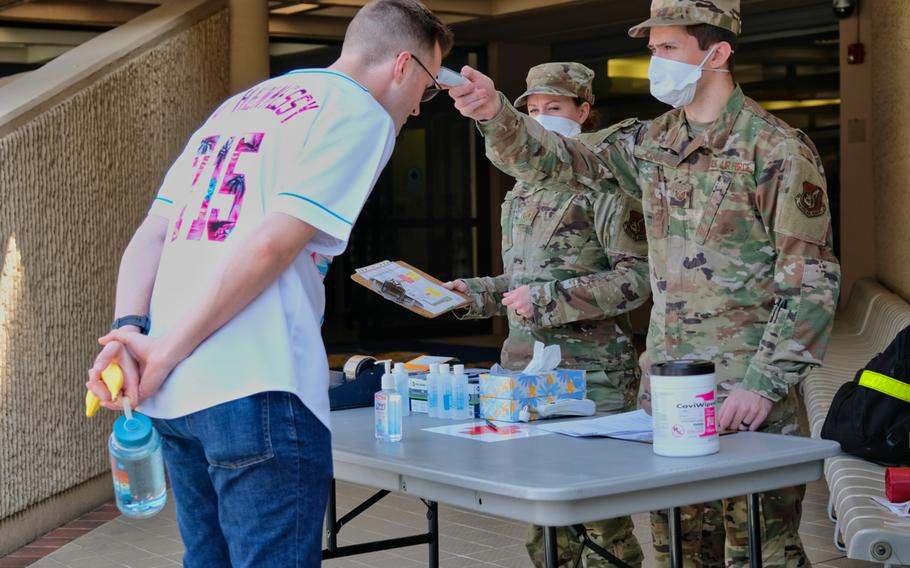 51st Fighter Wing medical staff screen an airman for coronavirus symptoms before he enters Osan Air Base, South Korea, Friday, April 3, 2020.