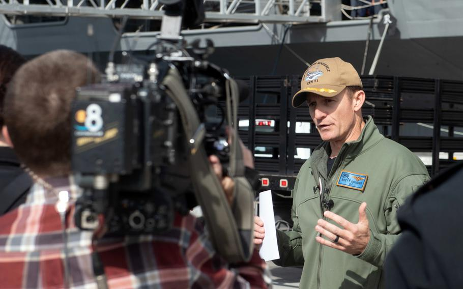 Capt. Brett Crozier speaks with local news media at Naval Air Station North Island, San Diego, Jan. 17, 2020.