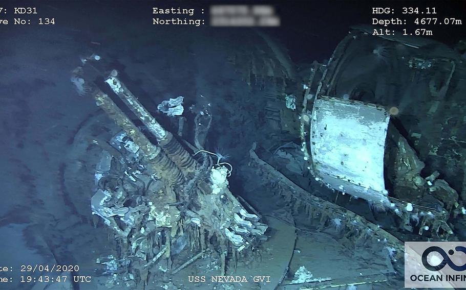 A 40-mm anti-aircraft gun on the sunken wreck of the USS Nevada, which was discovered by searchers recently near Hawaii.