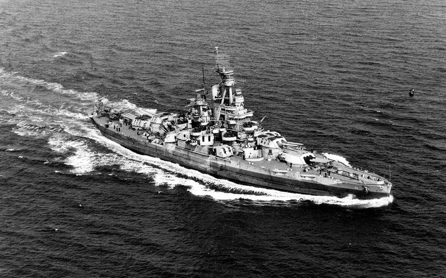 The USS Nevada underway near the  U.S. Atlantic coast Sept. 17, 1944.