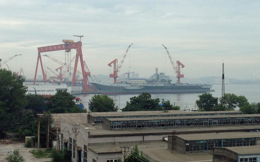 The Chinese aircraft carrier Liaoning is pictured in July 2014.
