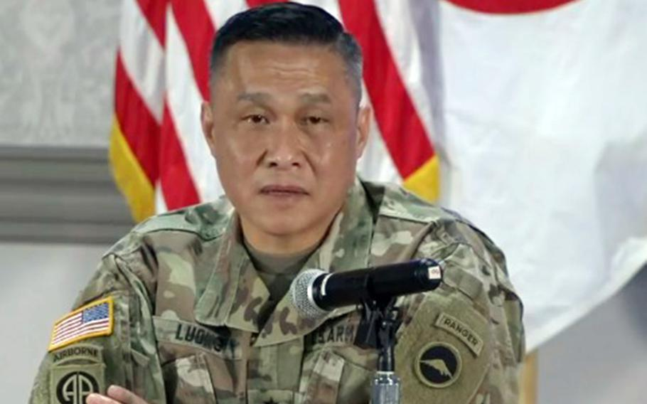 U.S. Army Japan commander Maj. Gen. Viet Luong listen to a question during a virtual town hall meeting at Camp Zama, Japan, Tuesday, June 9, 2020.