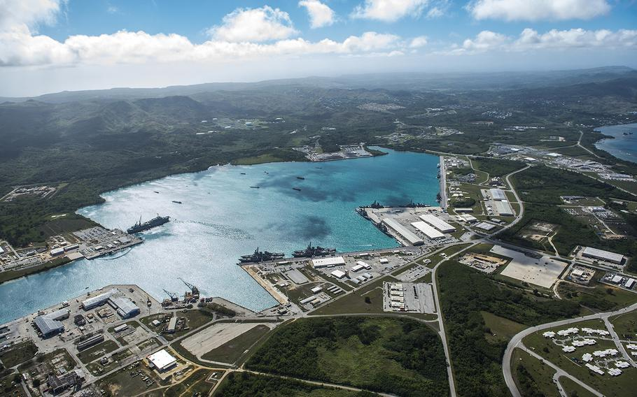 This aerial view of Naval Base Guam shows Apra Harbor with several Navy vessels in port on March 5, 2016.