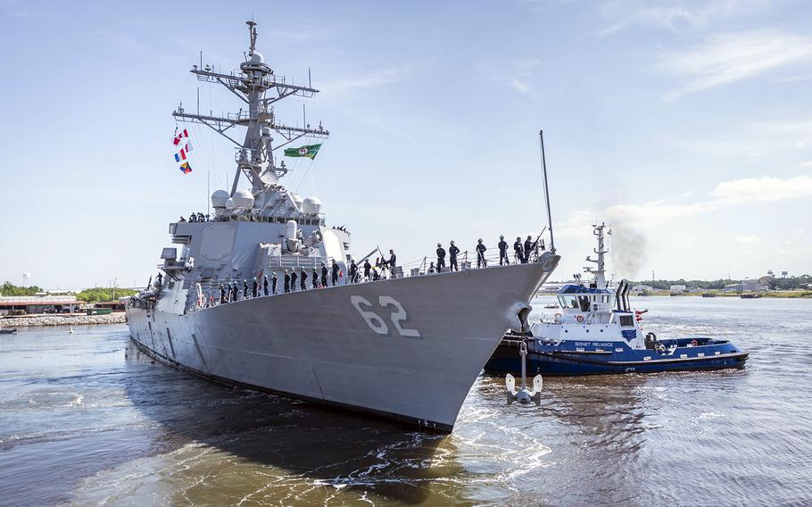 The guided-missile destroyer USS Fitzgerald prepares to depart a shipyard in Pascagoula, Miss., to head for its new homeport in San Diego, Saturday, June 13, 2020.