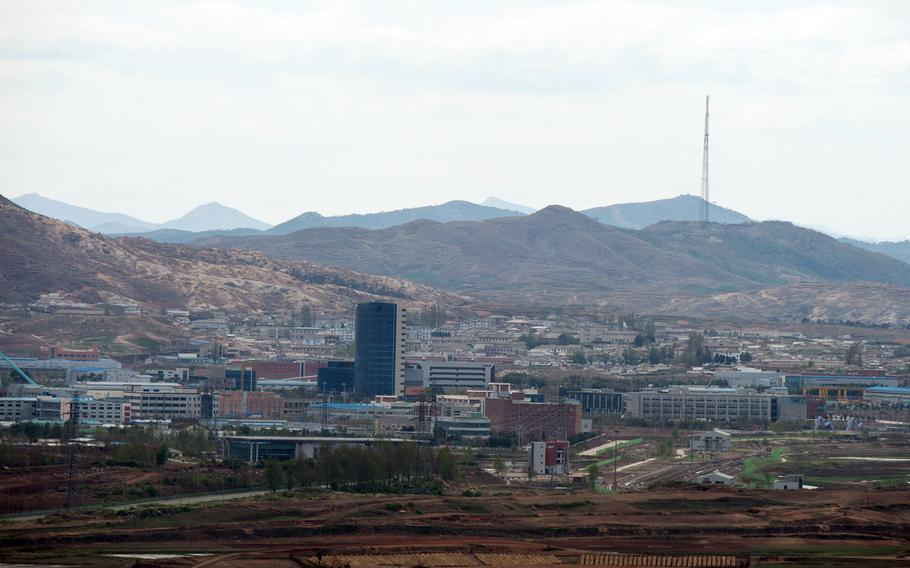 The Kaesong Industrial Complex is seen from Dora Observatory in Paju, South Korea, April 24, 2018.