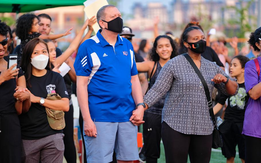 Nearly 1,000 people gathered for the first-ever Juneteenth celebration at Camp Humphreys, South Korea, Friday, June 19, 2020.