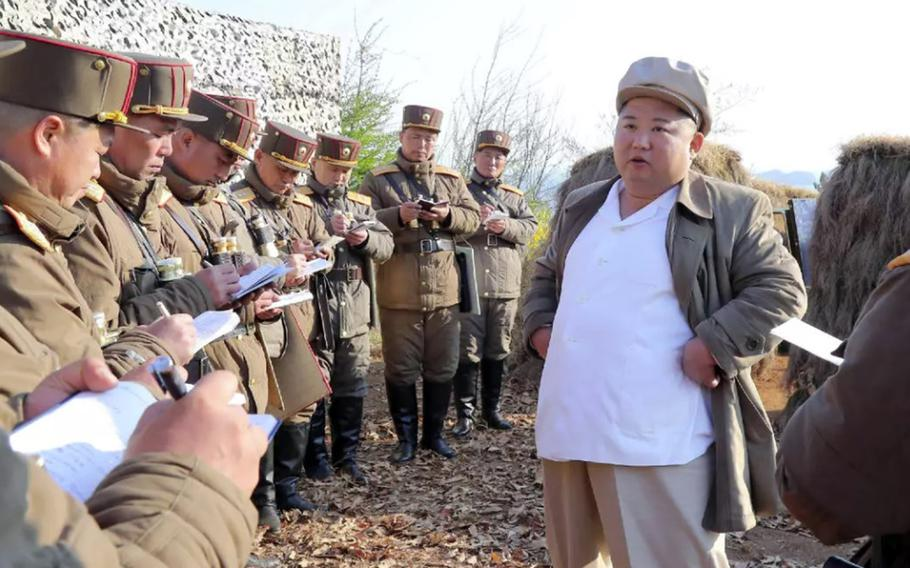 North Korean leader Kim Jong Un guides an army drill in this image released by the state-run Korean Central News Agency, April 10, 2020.