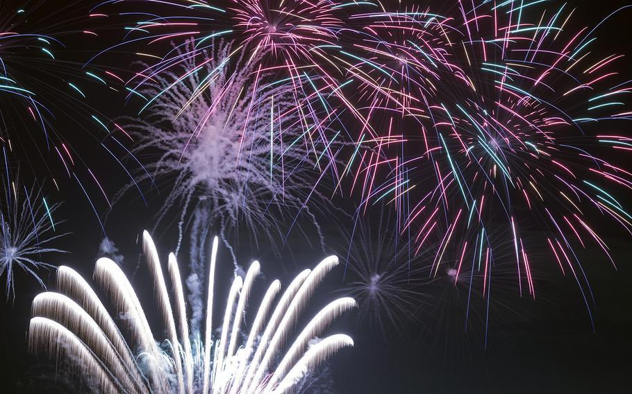 Fireworks explode during the Celebrate America festival at Yokota Air Base in western Tokyo, June 30, 2017.