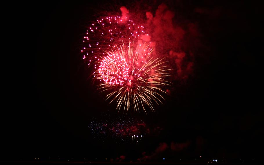 Fireworks launched in celebration of Independence Day during Liberty Fest 2020 on Osan Air Base, South Korea, Saturday, July 4, 2020.