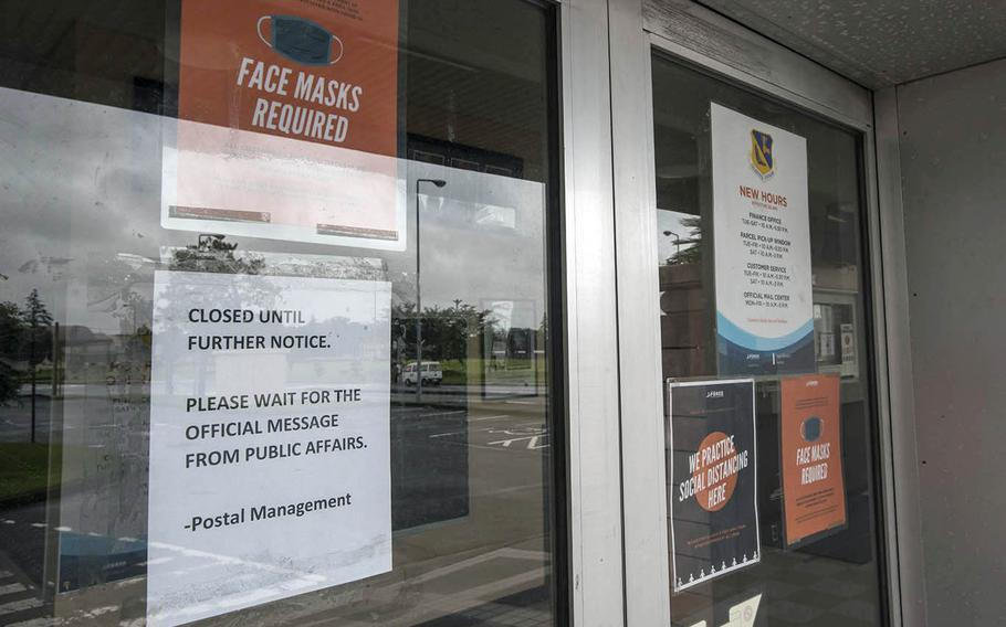 The post office was shuttered at Yokota Air Base in western Tokyo, Friday, July 17, 2020, a day after a worker there tested positive for the coronavirus.
