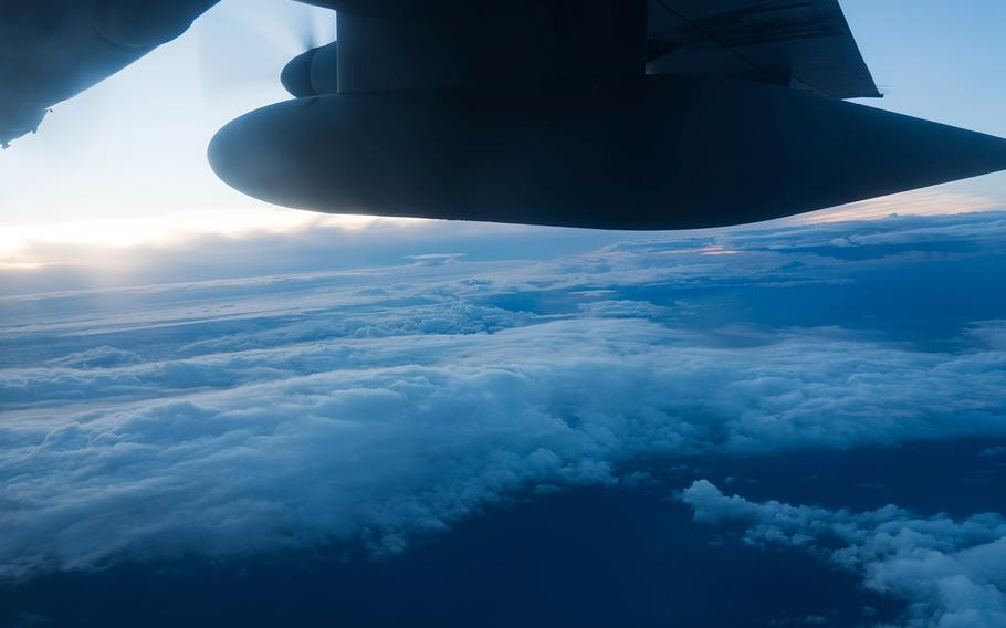 The Air Force Reserve Hurricane Hunter aircrew flies into Hurricane Douglas to collect weather data as the storm approaches Hawaii on Sunday, July 26, 2020.