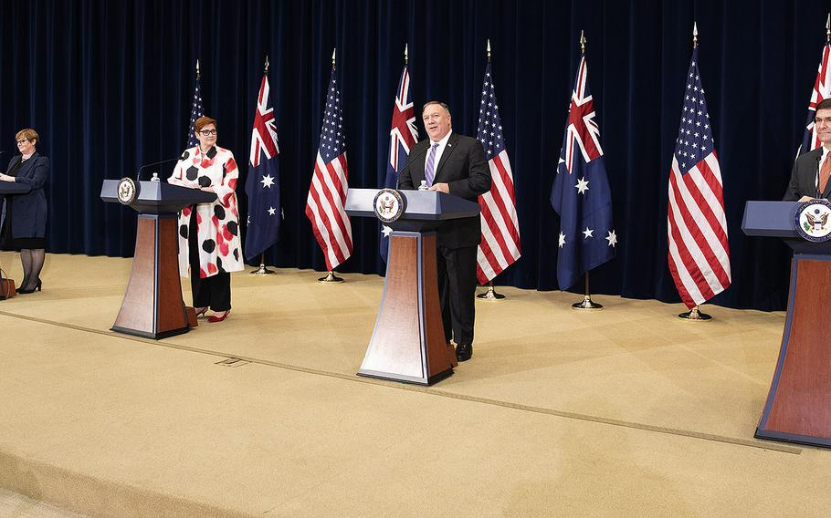 Secretary of State Mike Pompeo holds a news briefing with Defense Secretary Mark Esper, Australian Foreign Minister Marise Payne, and Australian Defense Minister Linda Reynolds at the State Department on July 28, 2020.