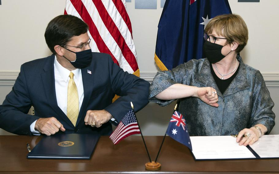 Defense Secretary Mark T. Esper meets with Australian Defense Minister Linda Reynolds at the Pentagon, Washington, D.C., on July 27, 2020.