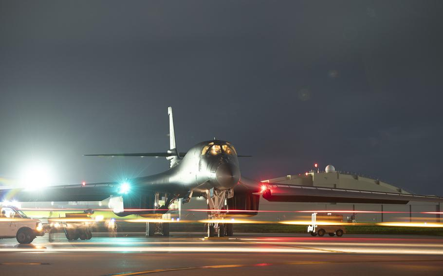 A B-1B Lancer rests on the flight line at Andersen Air Force Base, Guam, Aug. 6, 2020.