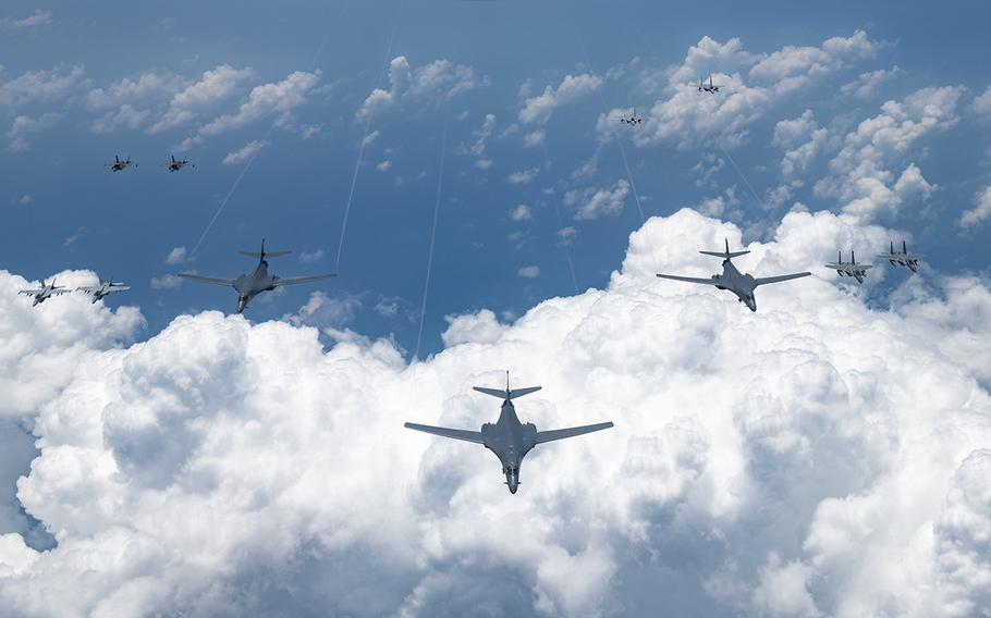 U.S. Air Force B-1 bombers fly over the Pacific Ocean during a large-scale joint and bilateral integration training exercise on Aug. 18, 2020.