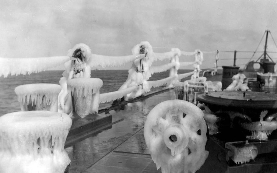 Thick ice coats the bow of the USS Concord during one of the cruiser's numerous missions in the Northern Pacific, in this photo taken sometime between March 1944 and August 1945.