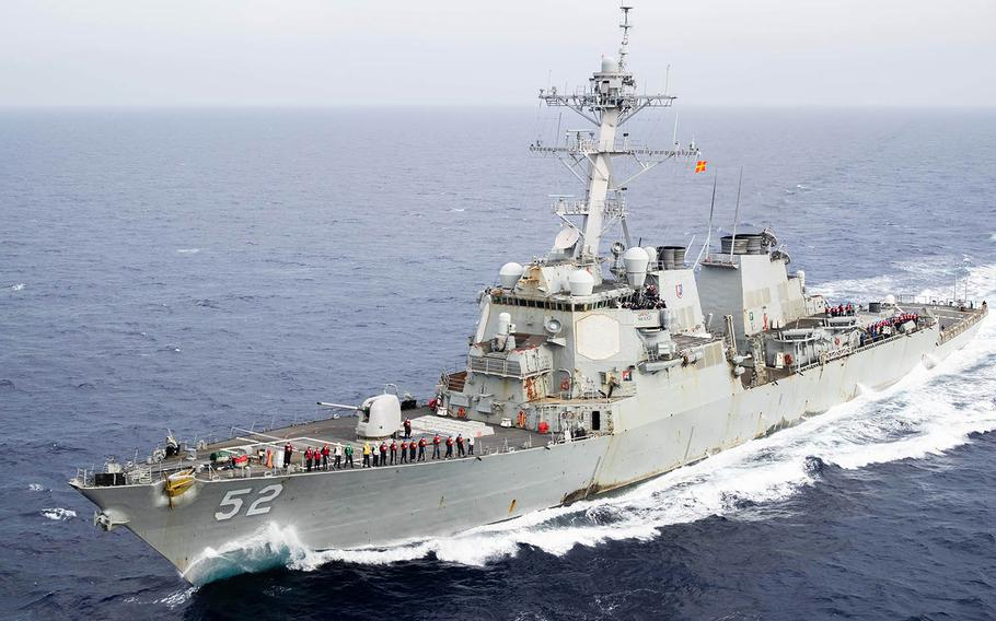The guided-missile destroyer USS Barry steams through the Philippine Sea, May 30, 2020.