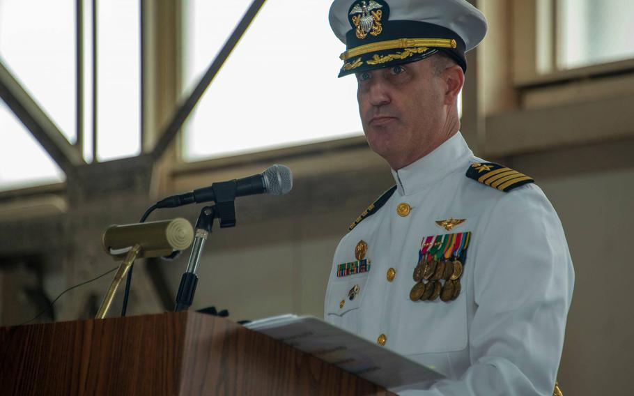 Capt. John M. Montagnet participates in a change-of-command ceremony at Naval Air Facility Atsugi, Japan, Thursday, Sept. 17, 2020.