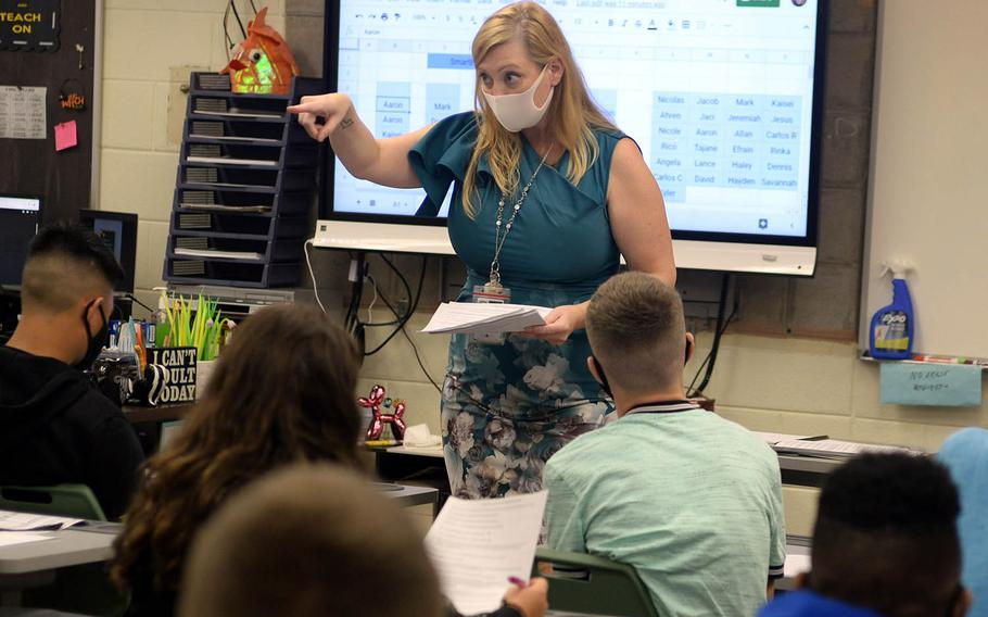 Language arts teacher Karmen Kincaid makes a point to her sophomore students Monday, Sept. 21, 2020, the first day of in-class instruction since late March at Kubasaki High School on Camp Foster, Okinawa.