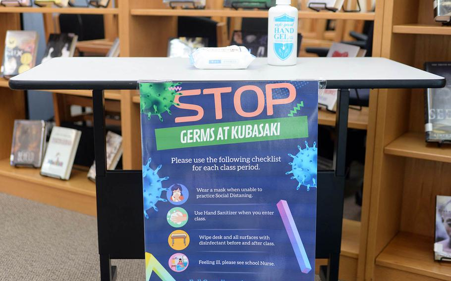 Sanitizer stations could be found everywhere at Department of Defense Education Actitivy schools on Okinawa, Monday, Sept. 21, 2020, the first day of in-class instruction there since late March.