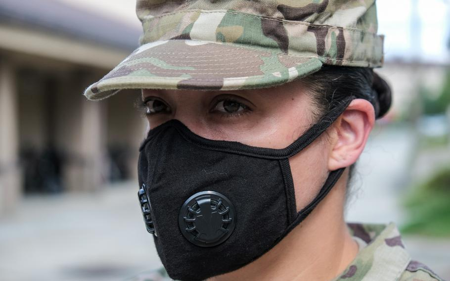 Tech. Sgt. Jessica Smith of the 51st Communications Squadron wears a valved face mask at Osan Air Base, South Korea, Tuesday, Sept. 1, 2020.