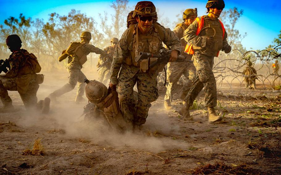 Marines conduct defensive operations Sept. 6, 2020, during Exercise Koolendong in Australia as part of Marine Rotational Force-Darwin.