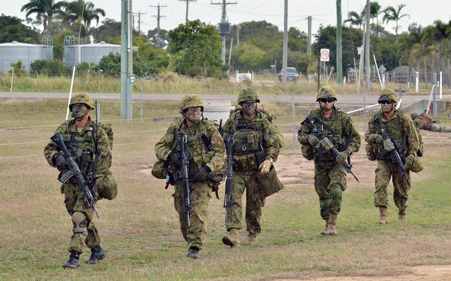 Members of Japan's Amphibious Rapid Deployment Brigade participate in the Talisman Sabre exercise in Bowen, Australia, July 22, 2019.