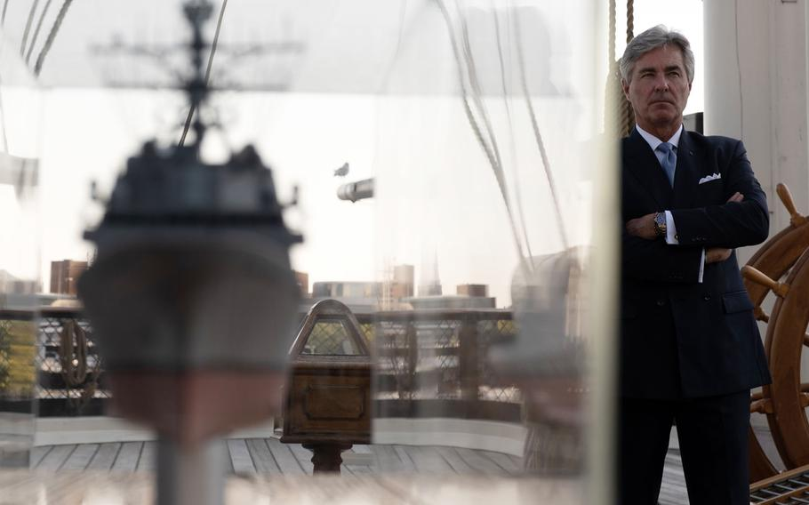 Secretary of the Navy Kenneth Braithwaite stands aboard the museum ship Constellation in Baltimore, Md., Oct. 7, 2020.