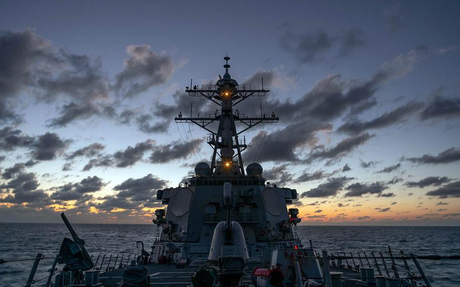 The guided-missile destroyer USS Barry sails through the Taiwan Strait between China and Taiwan, Nov. 20, 2020.