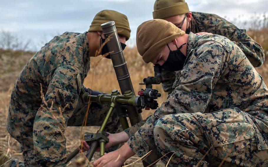 Members of the 3rd Battalion, 8th Marine Regiment train in Niigata prefecture, Japan, Dec. 5, 2020.