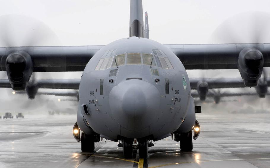 A C-130J Super Hercules assigned to the 36th Airlift Squadron taxis during the elephant walk portion of the Samurai Surge exercise at Yokota Air Base, Japan, May 21, 2020.