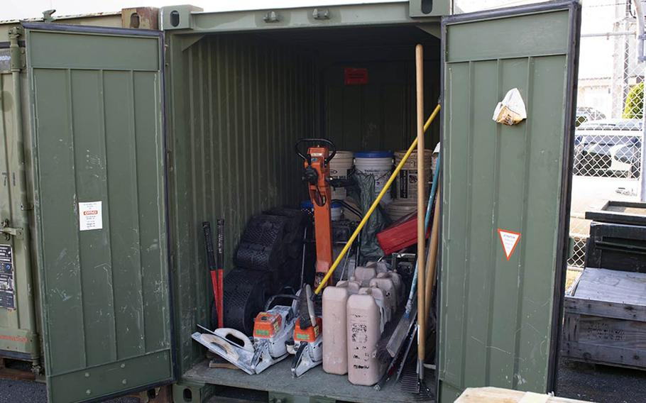 The light airfield damage repair kit used by Marine Wing Support Squadron 171 at Marine Corps Air Station Iwakuni, Japan, fits inside a quad con storage container.