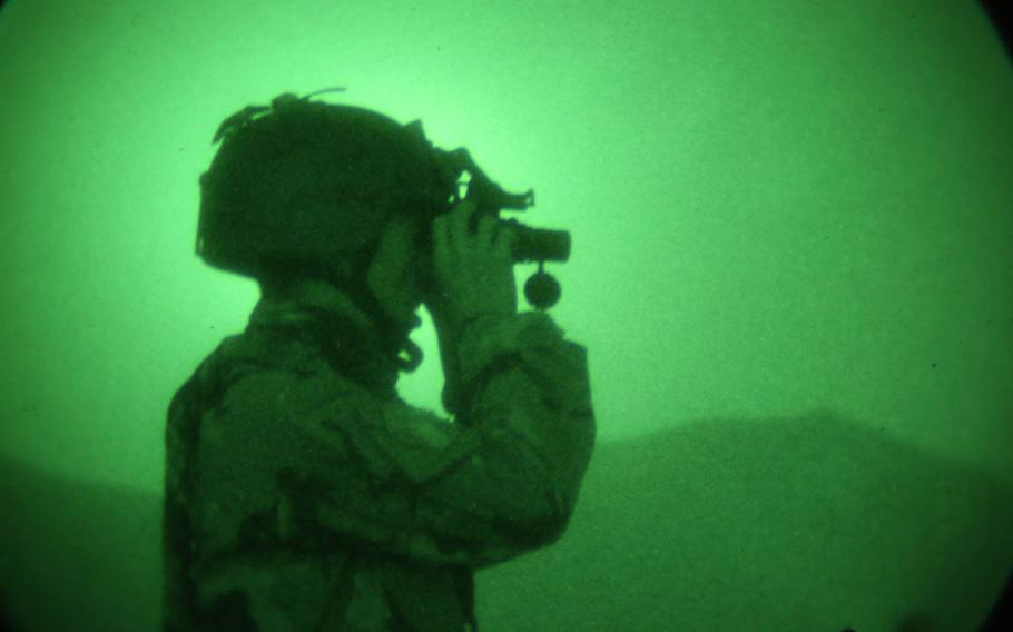 An Afghan National Army commando tests his night vision device during mission preparation in Kabul district, Afghanistan, in 2013. The Defense Department has failed to keep track of military equipment including surveillance systems, controls for laser-guided bombs and night vision devices that were provided to the Afghan government, the Special Inspector General for Afghanistan said in a report released Thursday, Dec. 17, 2020.