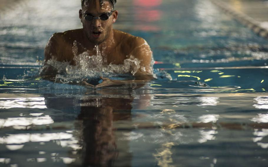 Shotaro Shimazaki, 27, a swimming instructor at Yokota Air Base, Japan, is a competitive breaststroker who plans to enter trials that will determine who competes for Japan at the summer games in Tokyo.
