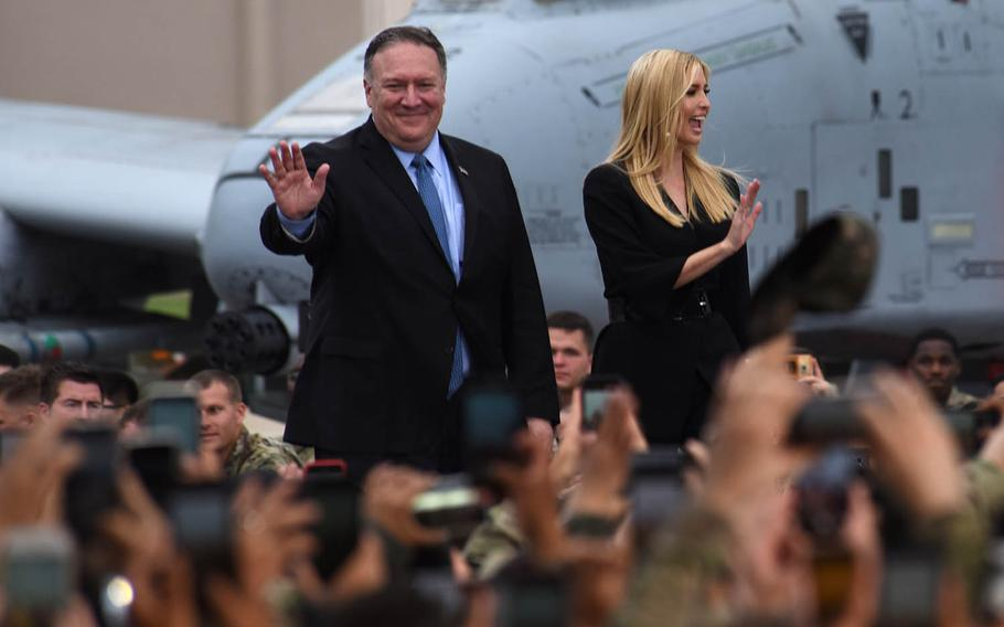 Secretary of State Mike Pompeo and Ivanka Trump, daughter and adviser to President Donald Trump, greet service members at Osan Air Base, South Korea, June 30, 2019.